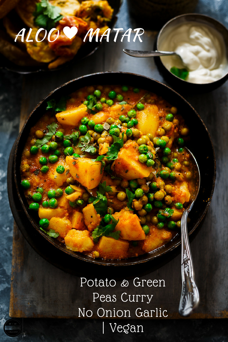 Aloo matae no onion garlic recipe indian recipes to try vegan aloo matar potato and green peas curry without onion garlic forumfinder Images
