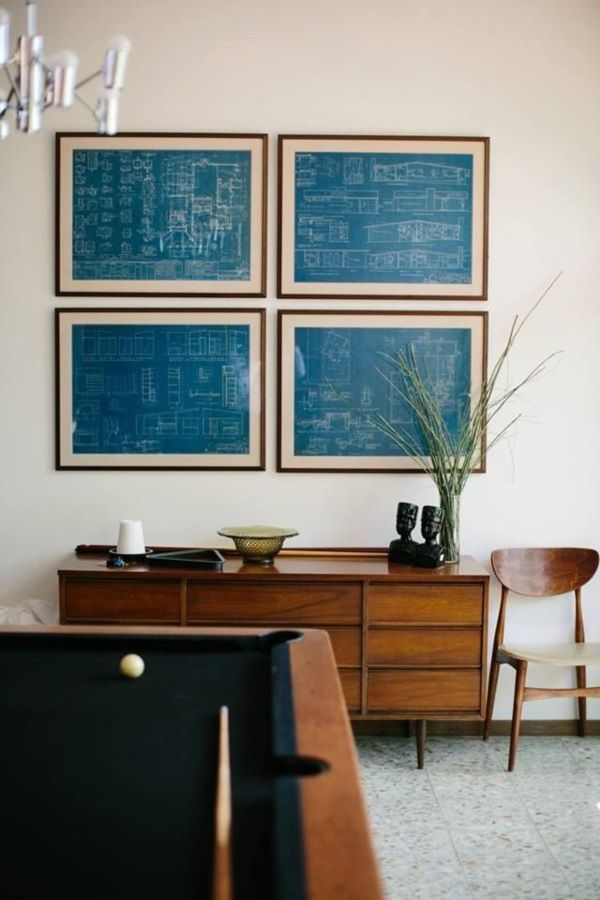 40 creative frame decoration ideas for your house frame decoration the blueprints of the house framed as wall art how could would this be do find a bunch of floor plans blueprints and paste them to the wall and make them malvernweather Gallery