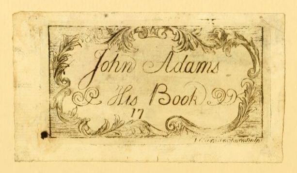 Bookplate of John Adams, 2nd President of the United States of America