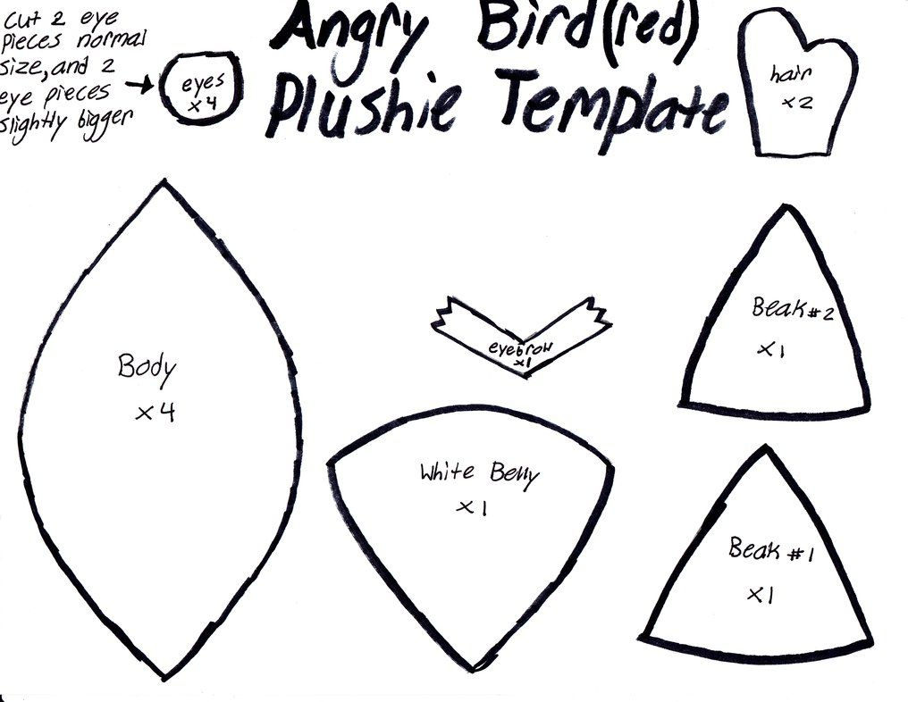 free plushie patterns images of angry bird plushie template by