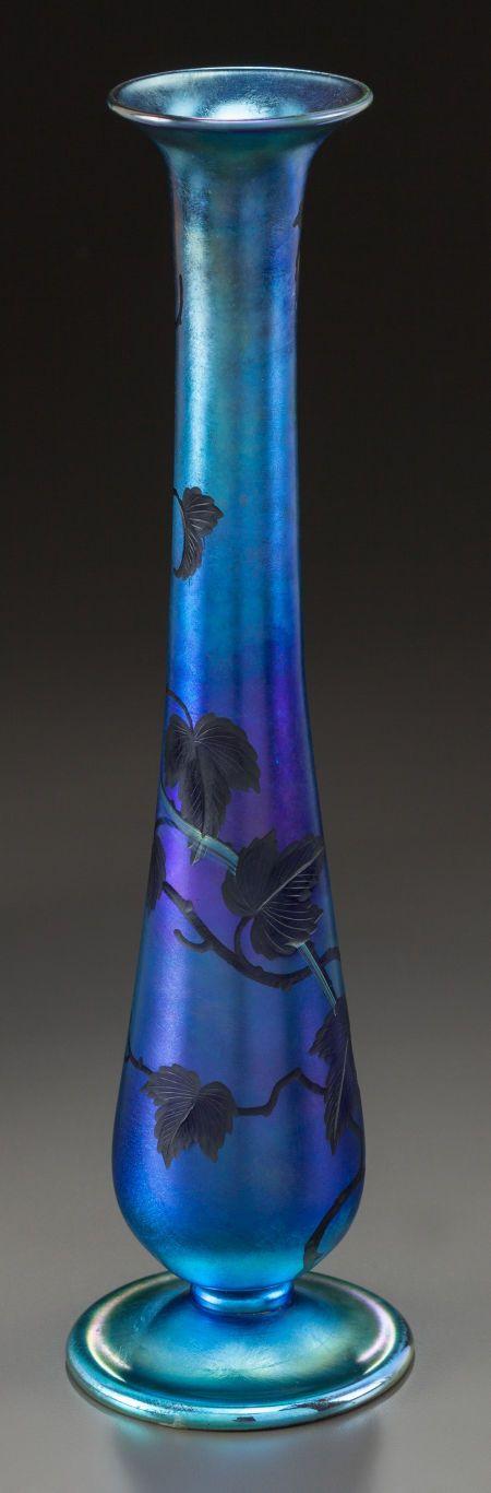 Art Glass:Tiffany , TIFFANY STUDIOS ENGRAVED FAVRILE GLASS VASE . Circa 1900, Engraved:L.C. Tiffany - Favrile, 1503, 5086 L . 12 inches hig....