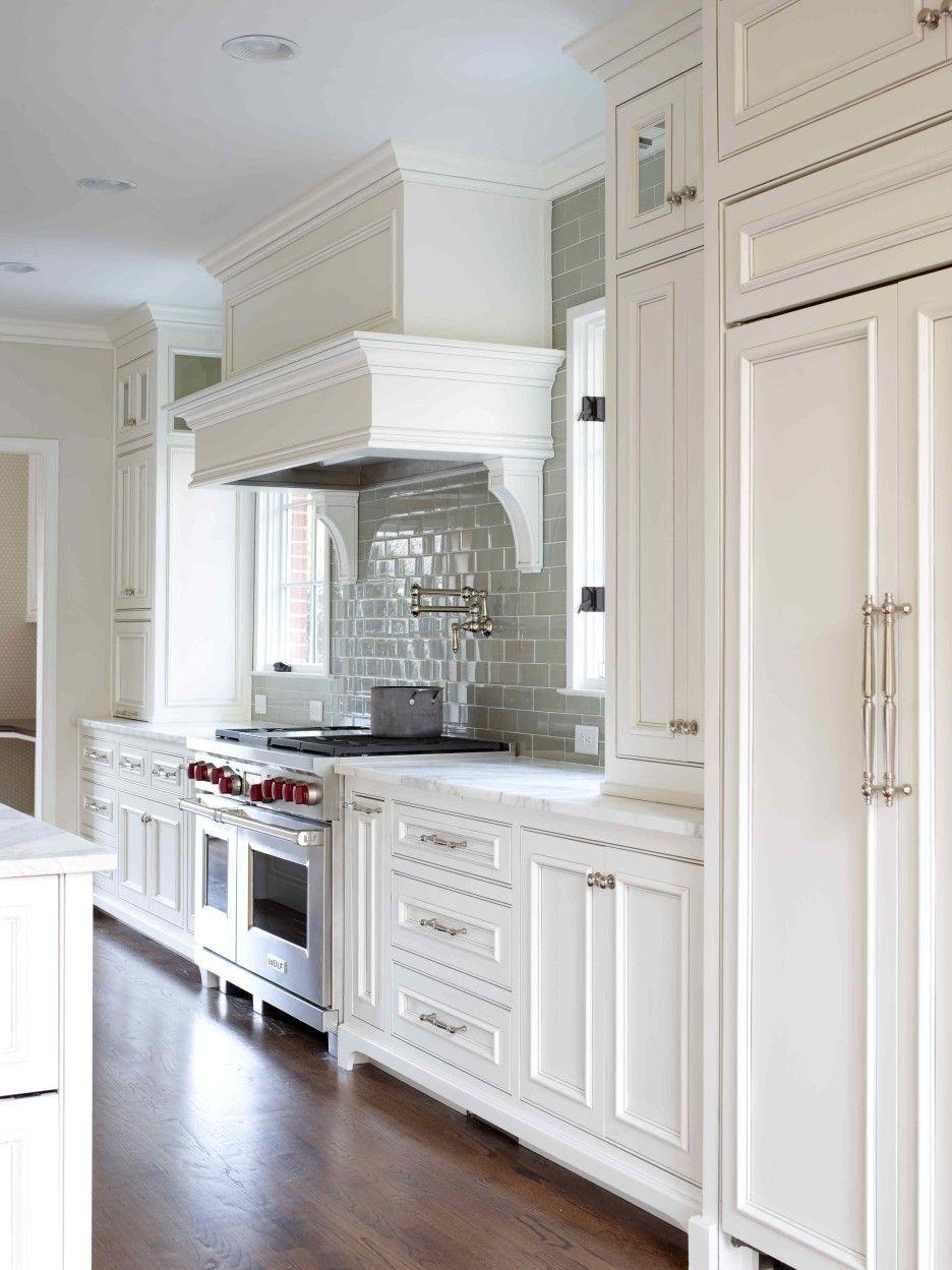 Furniture white wooden kitchen cabinet connected by grey tile furniture white wooden kitchen cabinet connected by grey tile backsplash and brown wooden floor dailygadgetfo Gallery