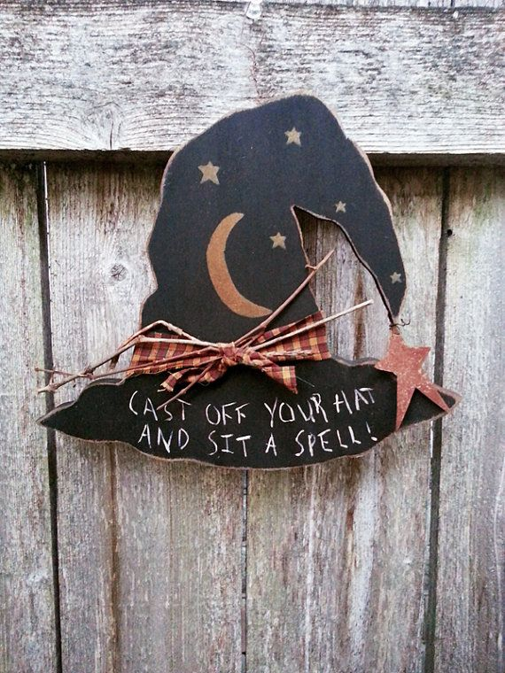 halloween decoration wood plaque witch hat fall by. Black Bedroom Furniture Sets. Home Design Ideas