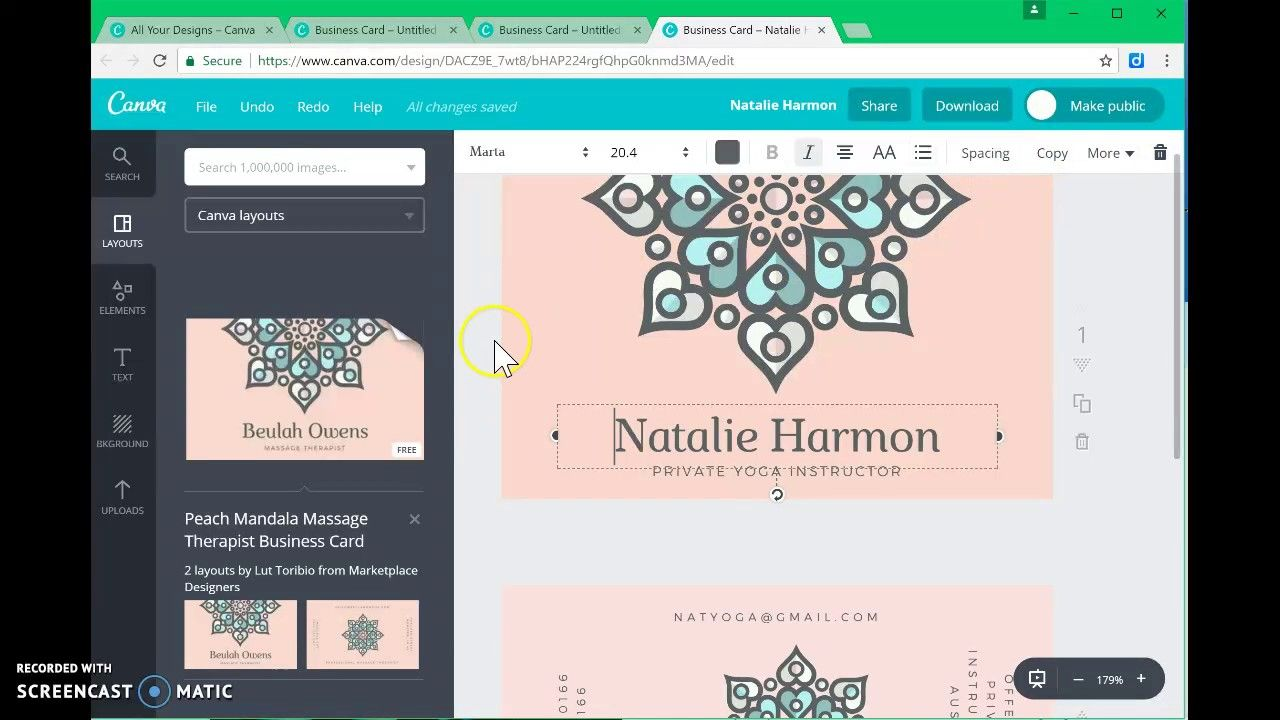 Business card templates canva 5 templates example