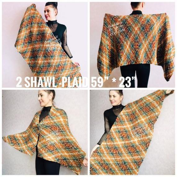 Knit Plaid Blanket Scarf Wool Plaid Tartan Knit Shawl Fringe Scarf