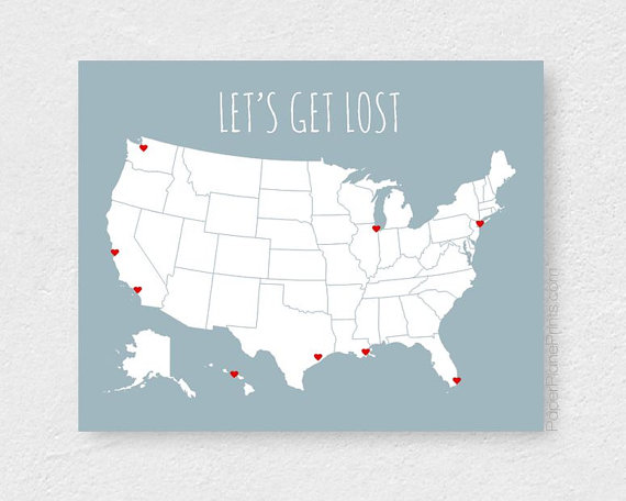 Modern Us Map.Large Us Map Poster Modern Usa Travel Map With Stickers Diy Kit