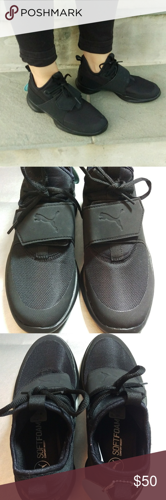 New Puma Dare Trainer Sneakers ITEM  New Puma Dare Trainer Slip On Sneaker  COLOR  Black CONDITION  New DAMAGE  None. May have tiny markings from ... d10662555