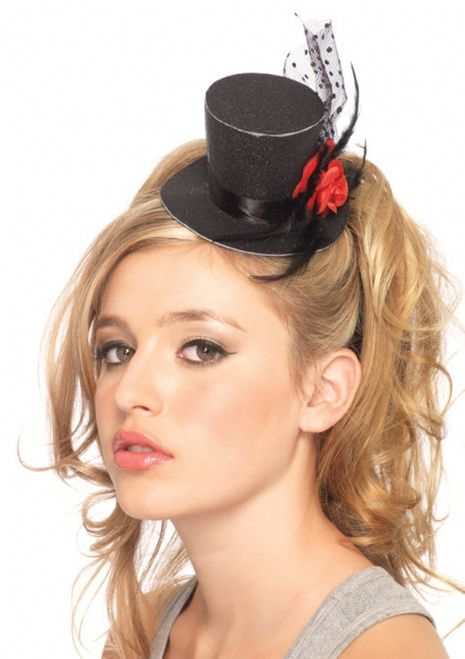 20d147aa94987 Black Glitter Mini Top Hat - This top hat is finished in black glitter with  a ribbon hat band and a small red rose on the side.