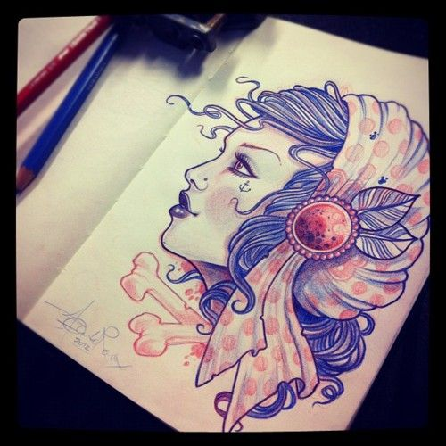 Jean Le Roux - new gypsy girl sketch on the go… *FOLLOW* (Taken with instagram)