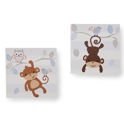 Bedtime Originals 2 Piece Mod Monkey Wall Décor Set