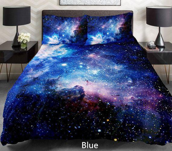 Blue galaxy bedding set Blue galaxy duvet cover galaxy sheet with
