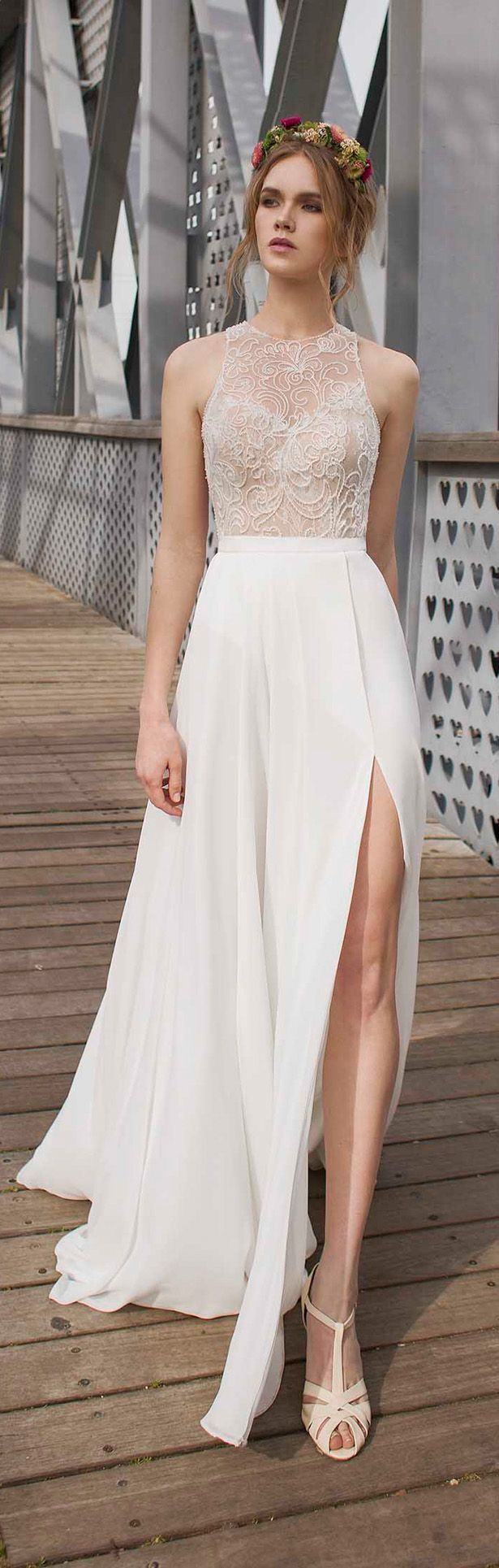 Simple white dress for civil wedding dress for country wedding