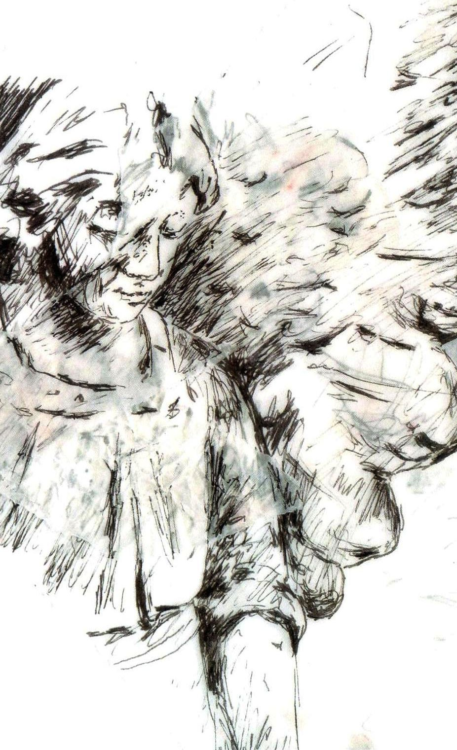 Detail of an angel in a cemetery - drawn with pen on layers of tracing paper