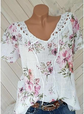 [US$ 21.99] Floral V-Neck Short Sleeves Casual Blo