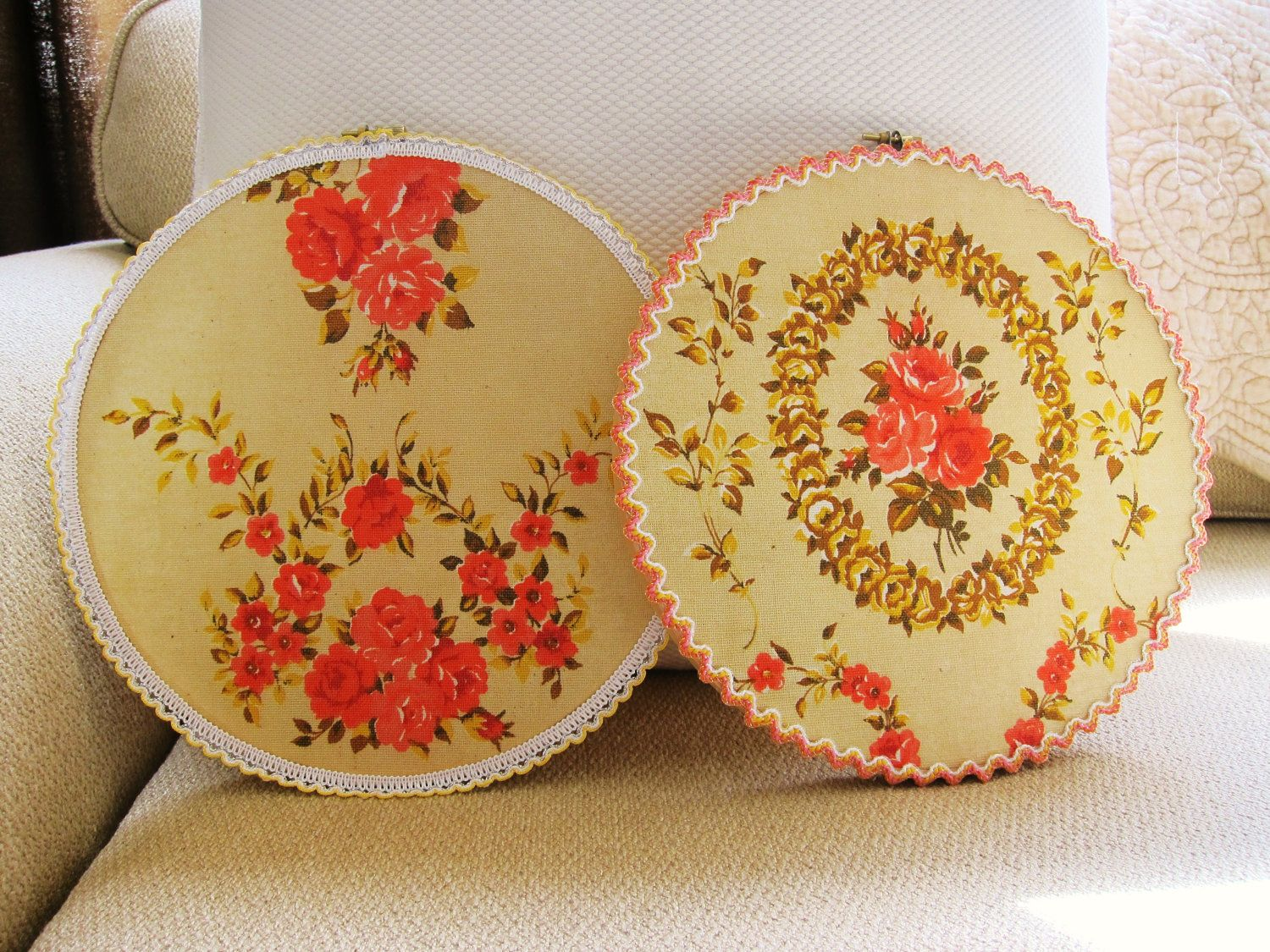 Set of 2 Hoop Art Framed Vintage Fabric with crochet trim ...