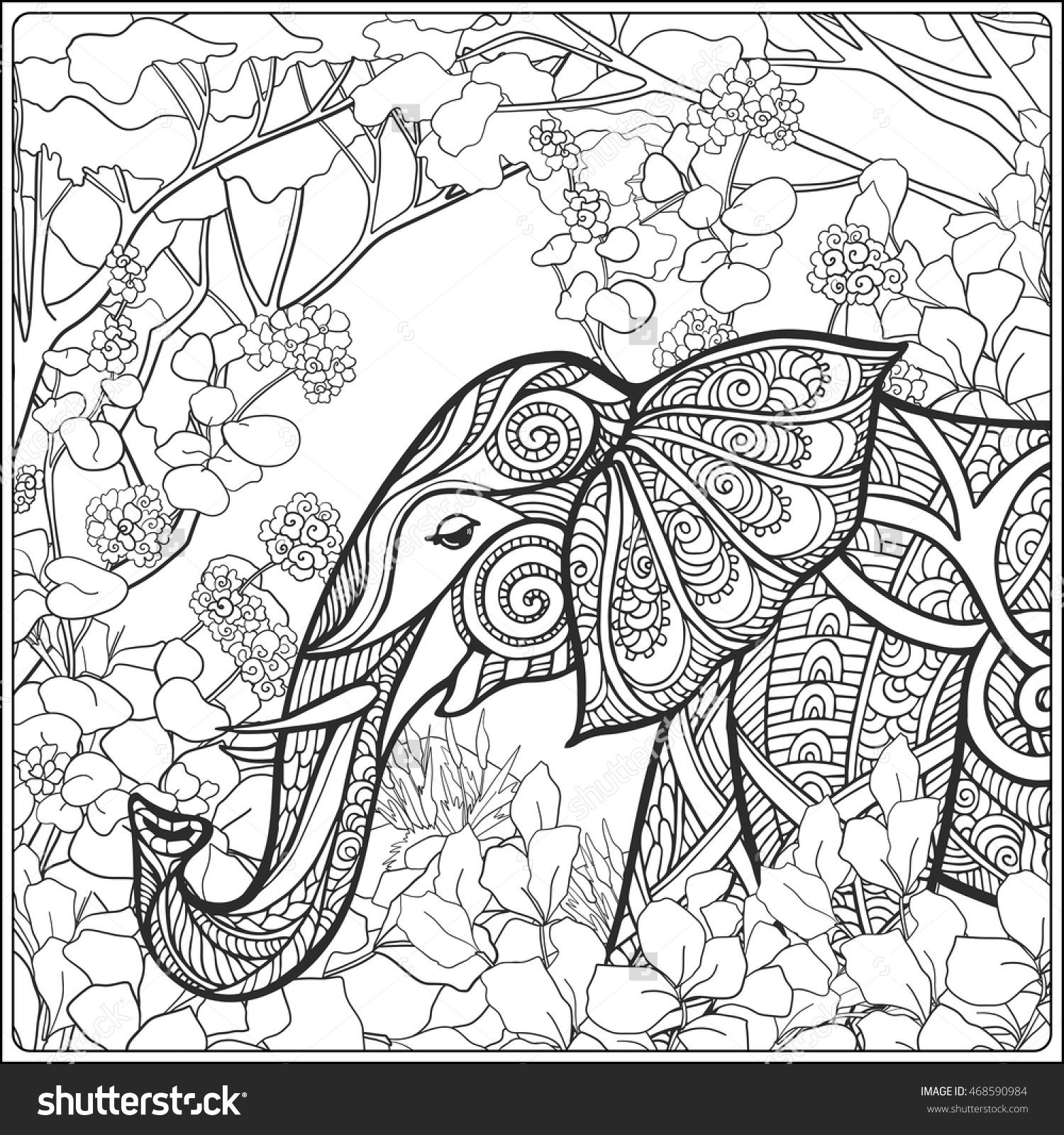 Coloring Page With Elephant In Forest Book For Adult And Older