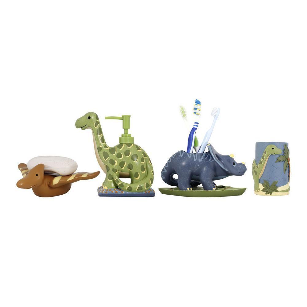 modona dinosaur 4-piece kids bathroom accessories set in