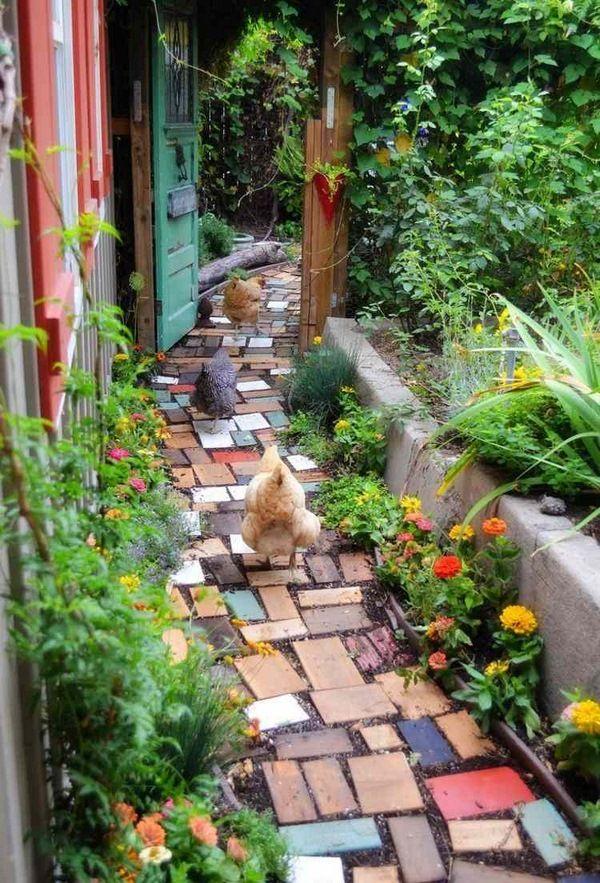 Jardin chemin id e fleurs color es pi ces en bois mur for Amenagement jardin diy