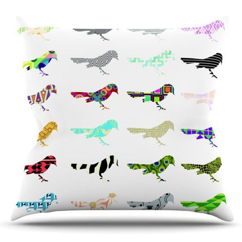 Birds by Belinda Gillies Outdoor Throw Pillow