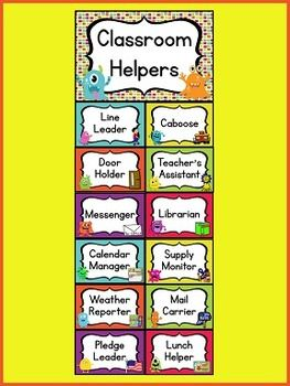 Monster theme job chart kindergarten kolleagues pinterest