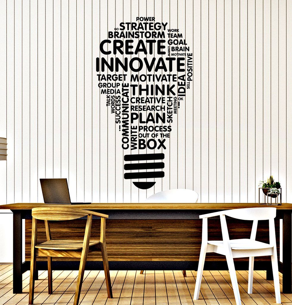 Vinyl Wall Decal Lightbulb Inspire Words Business Office Art Decor Stickers Mural Unique Gift (ig5071) is part of Office decor Wall - OUTDOOR use and will last at least up to 5 years, this type of quality you won`t find in other shops  Our handling time is only 24 hours or less, so you will get your decal in really short time  We make our decal