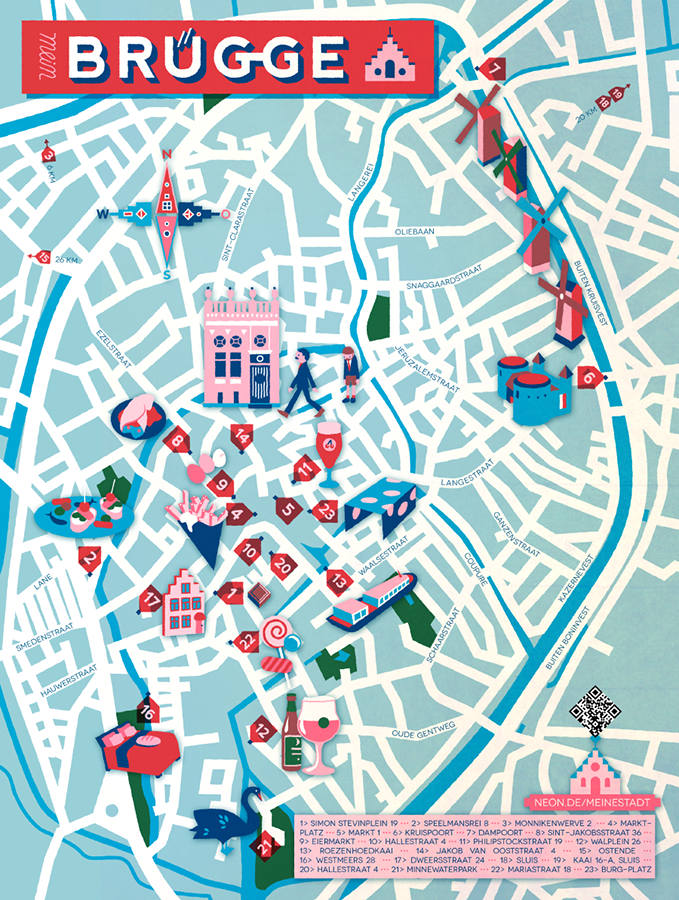 Jon Frickey Map of Brugge Map Travel illustration Pinterest