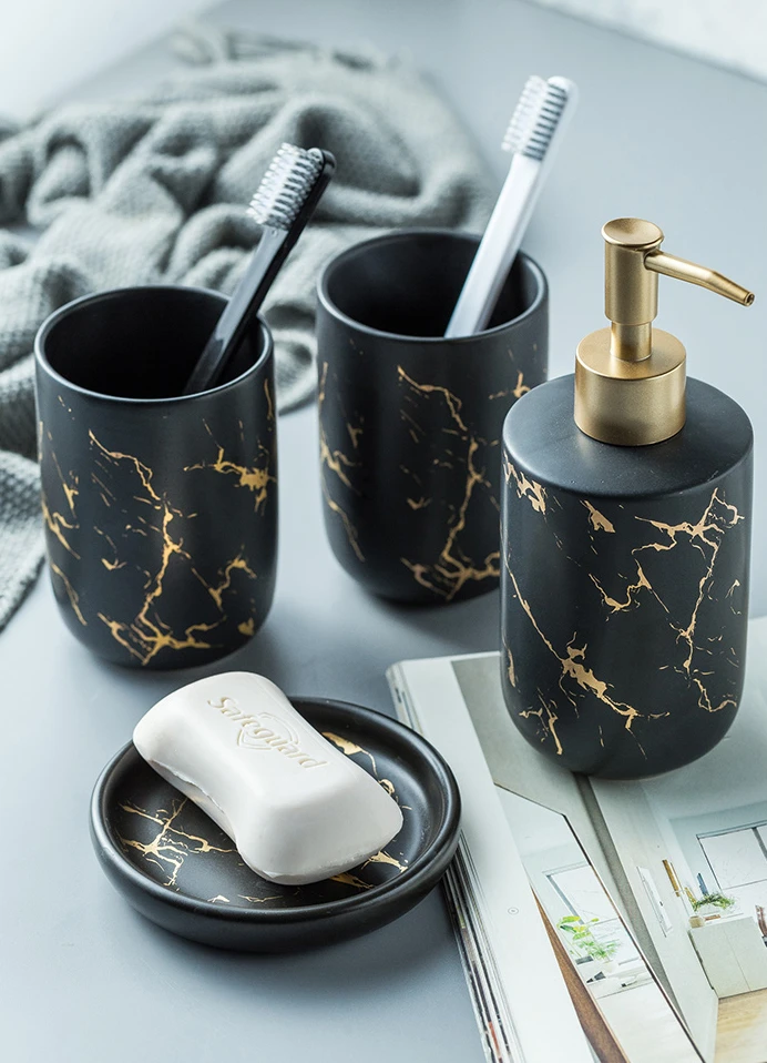 Black Gold Marble Style Ceramic Bathroom Accessory Kit Toothbrush Ho House Boutique Black And Gold Marble Bathroom Accessories Bathroom Accessories Luxury