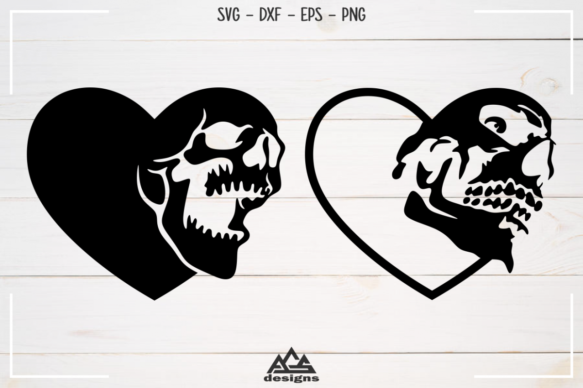 Heart Love Skull Svg Design in 2020 (With images) Svg