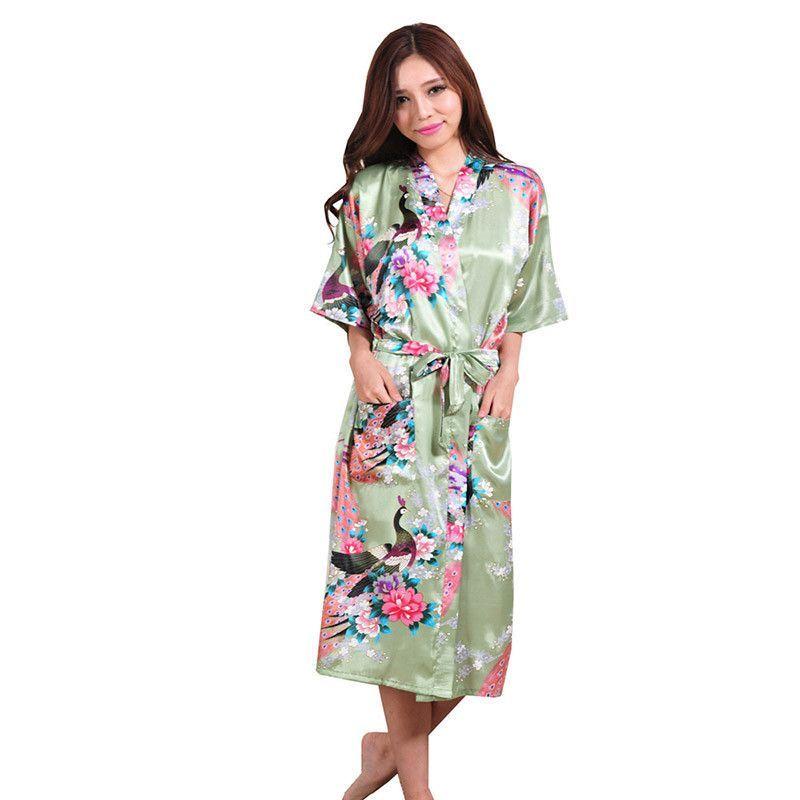 Silk Satin Wedding Bride Bridesmaid Robe Floral Bathrobe Long Kimono Robe  Night Robe Bath Robe Fashion Dressing Gown For Women 7a57b77db