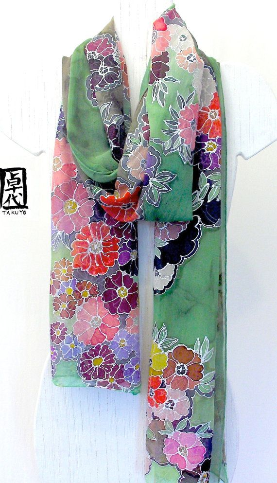 Hand Painted Green Silk Scarf. Large Silk by SilkScarvesTakuyo, $295.00