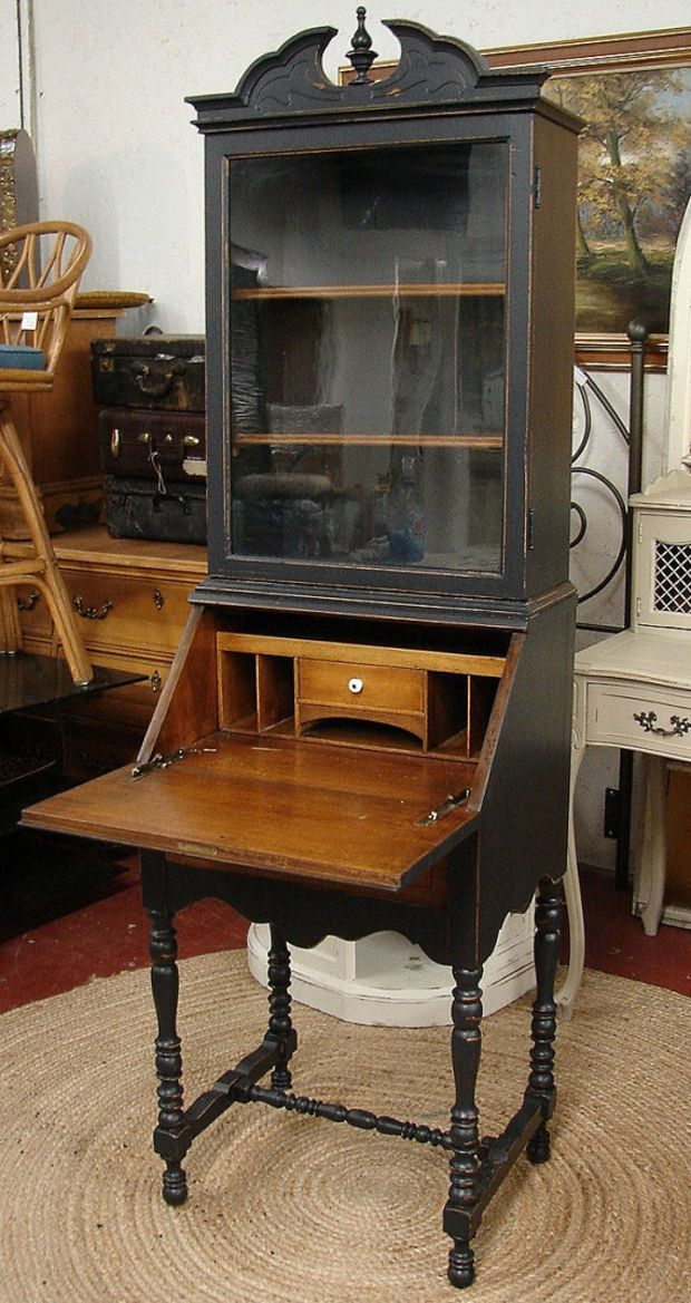 Reclaimed Vintage Black Painted Highboy Small Secretary Desk