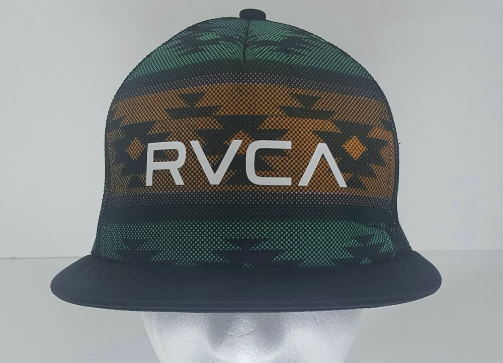 low priced d6b60 f307c RVCA Snapback Mesh Trucker Hat Cap Skate Surf Black Green Orange  fashion   clothing  shoes  accessories  mensaccessories  hats (ebay link)