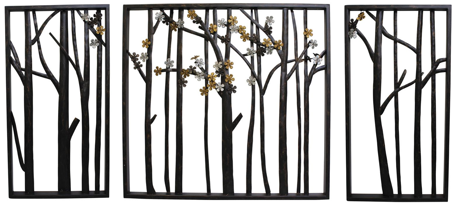 Home metal wall art flowers leaves u trees set of forest