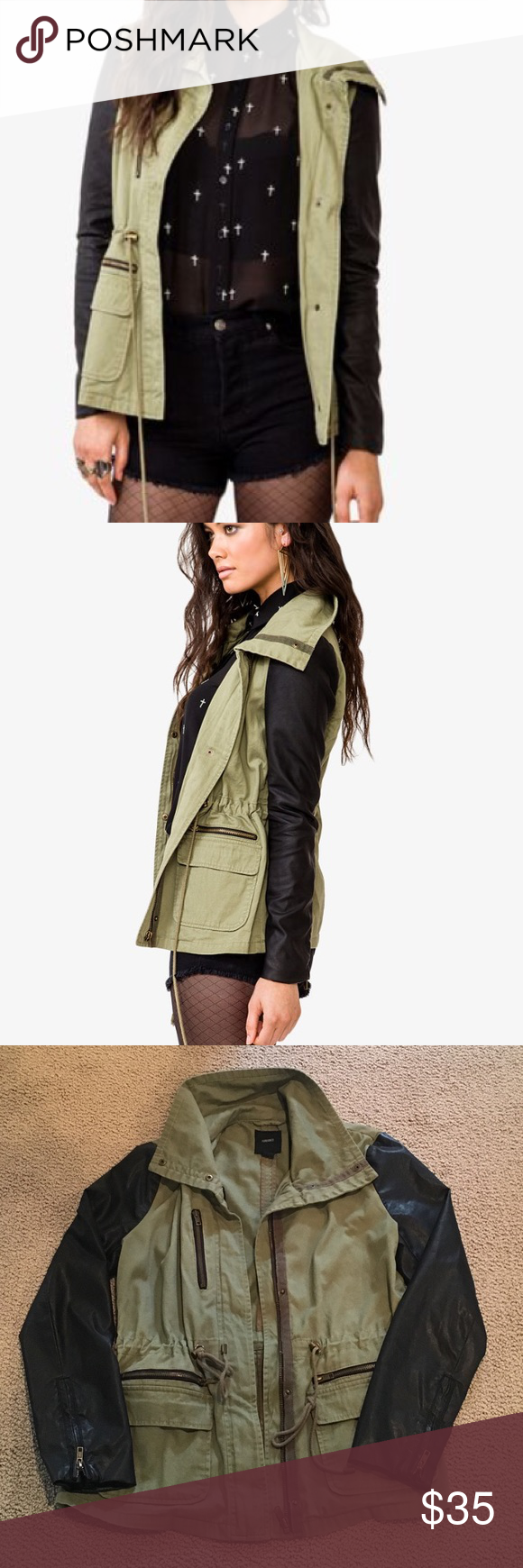 F21 Utility Jacket with Pleather Sleeves Sometimes Forever 21 hits it out of the park. This jacket is an example of that, so cool. Military green with pleather zipper vented sleeves, brass colored hardware, with adjustable waist cinching. Size large but fits like a generous medium. Pristine condition. Forever 21 Jackets & Coats Utility Jackets