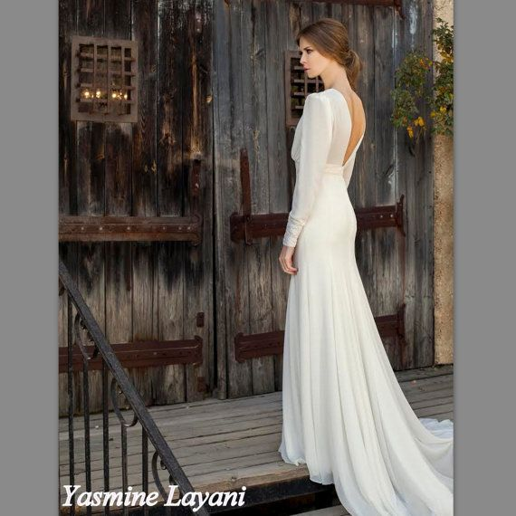 Traditional Wedding Dress With Long Sleeve, Open Back Wedding dress ...