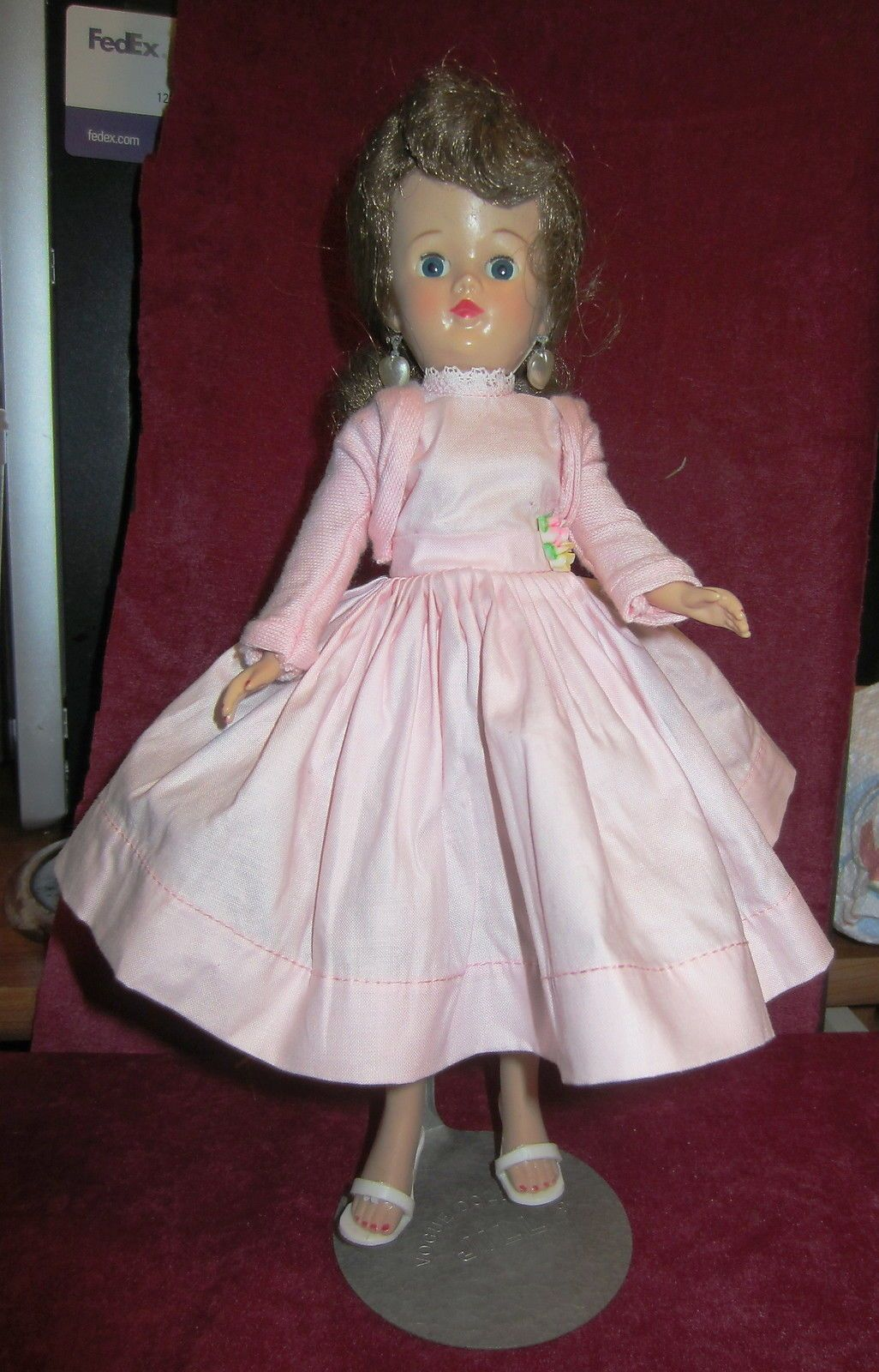 Vintage Jill Doll in Pink Tagged Dress with Original Stand | eBay