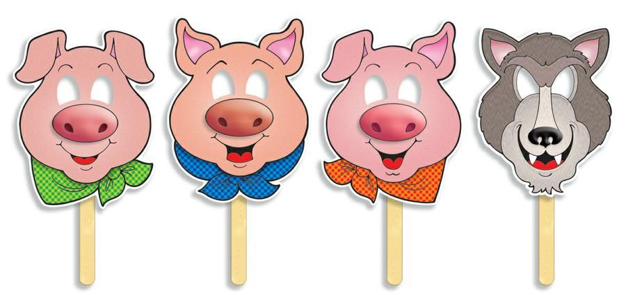 Three little pigs fairy tale masks w easy to read plays for The three little pigs puppet templates