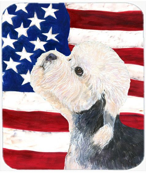 USA American Flag with Dandie Dinmont Terrier Mouse Pad, Hot Pad or Trivet