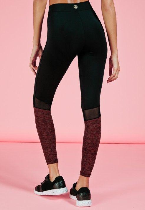 e5fa17b75ba51 Active Contrast Detail Mesh Insert Leggings Black - Active - Gym Leggings -  Missguided