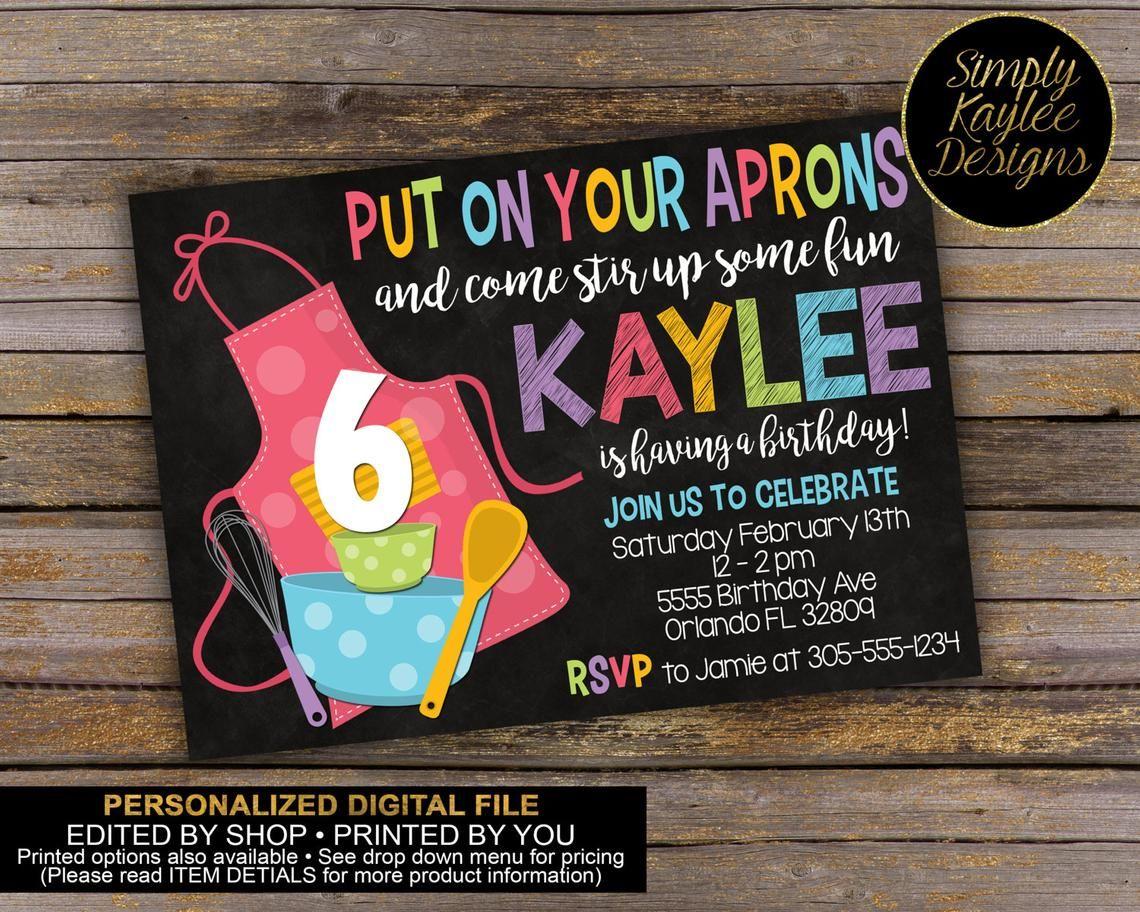 Baking Birthday Party Invitation Etsy Birthday party