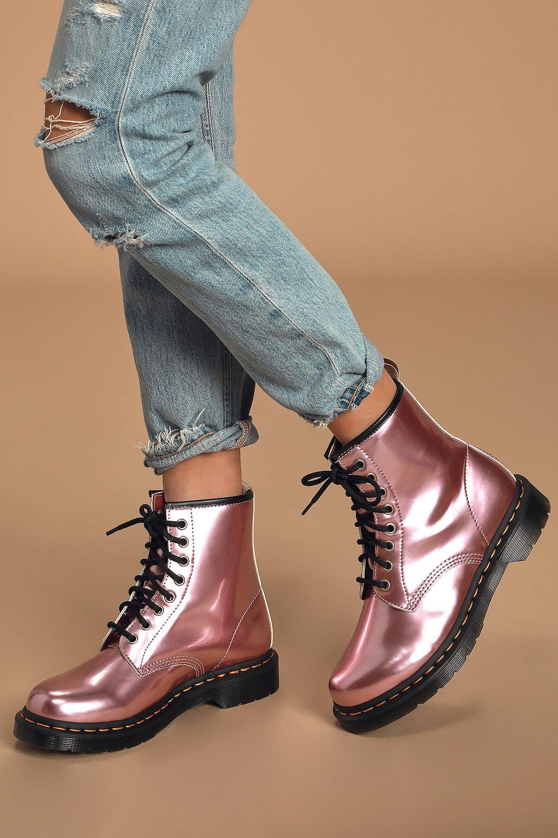 1460 Goldmix Pink Vegan Leather 8-Eye