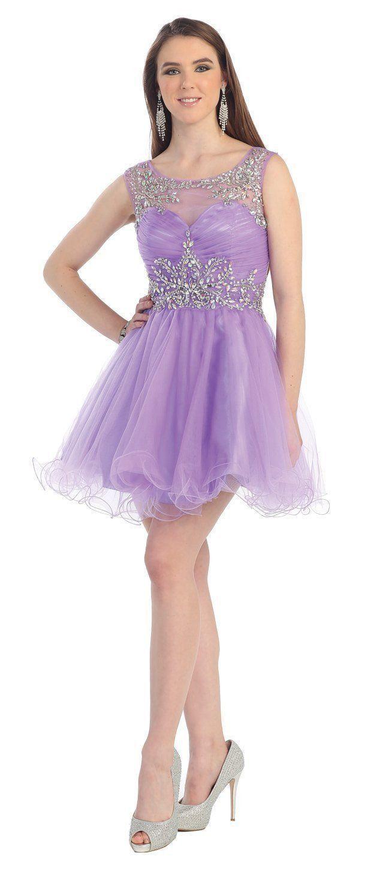 Gorgeous Short Sleeveless Lilac Cocktail Dress Plus Size Prom Dresses Cocktail Dress Prom Short Cocktail Dress [ 1450 x 619 Pixel ]