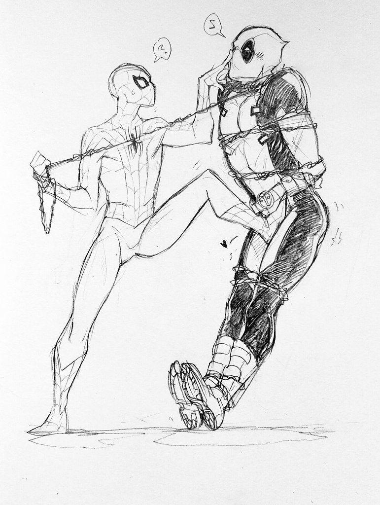 картинки дедпула и человека паука срисовать маленькие довольно