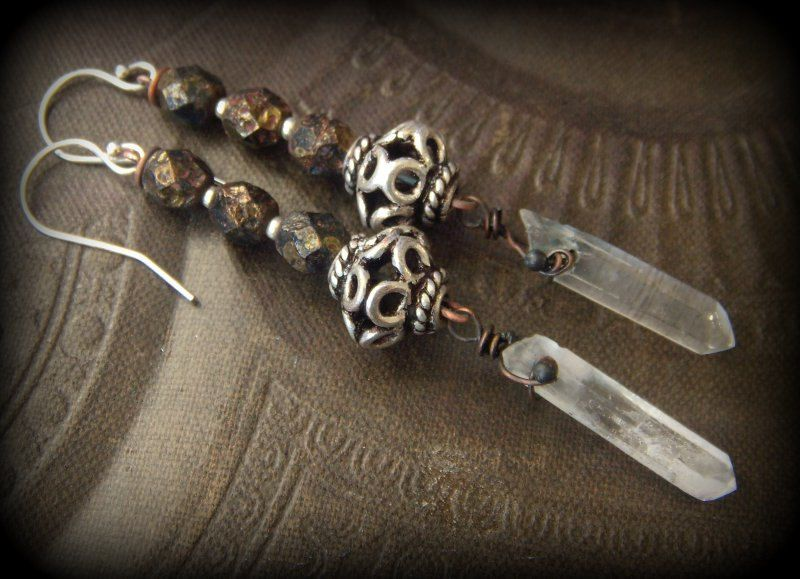 Ancient Roman Glass, Crystal Quartz, Beaded Earrings by YuccaBloom on Etsy