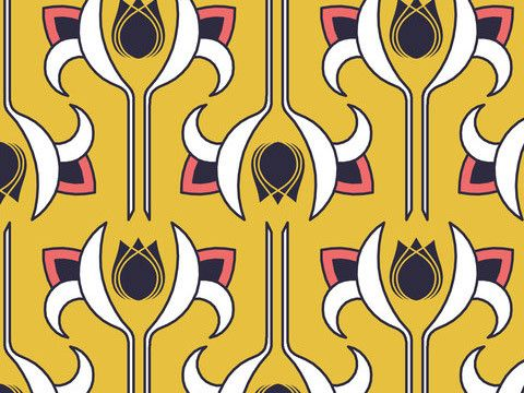 """""Art Deco Golden"""" - Organic Cotton/Linen Fabric by yard"