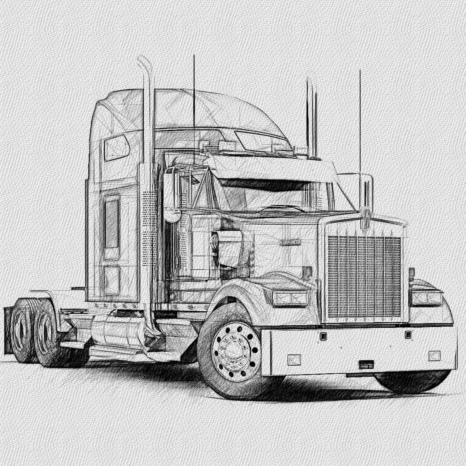 Kenworth Tractor Cab Rh Frt Kenworth Trucks Truck Art Bike Illustration