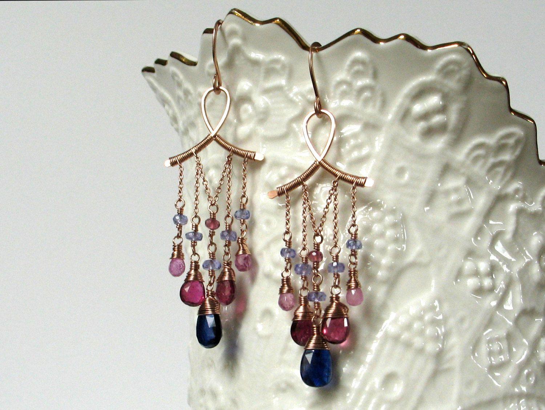 Luxury Gemstone Chandelier Earrings; Handmade Wire Wrapped Jewelry ...