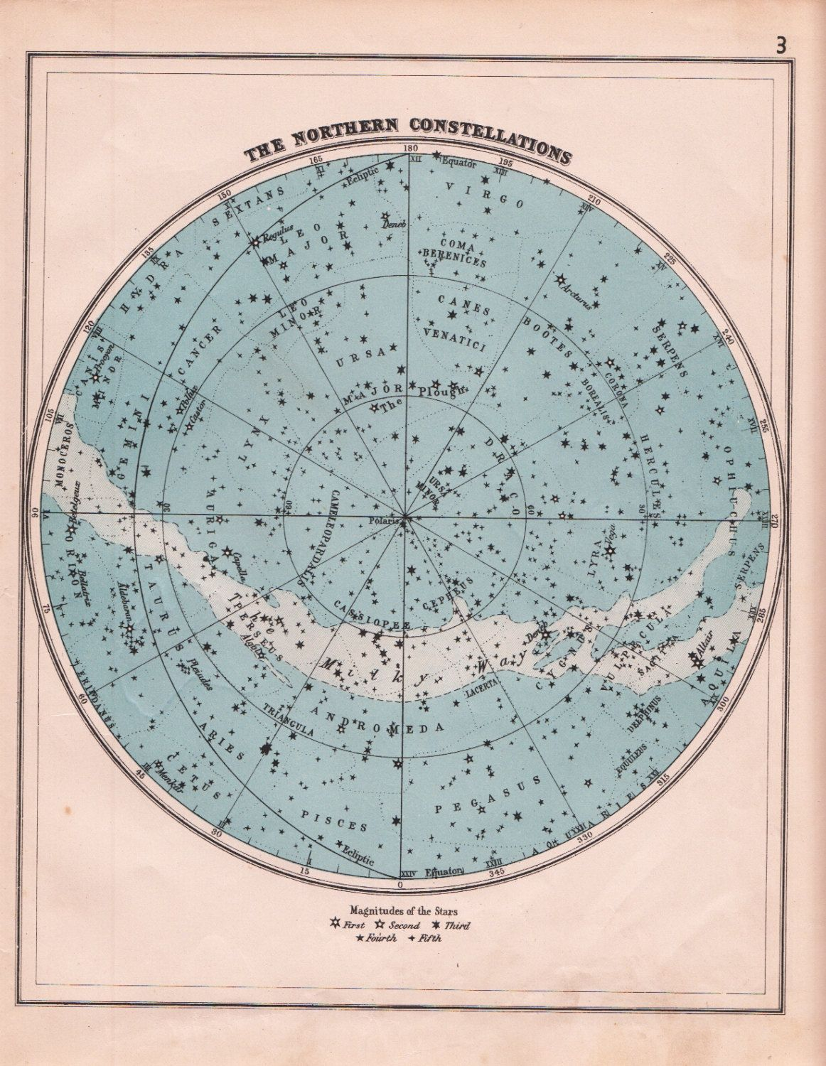 Northern Constellations Star Map S Vintage Astronomy