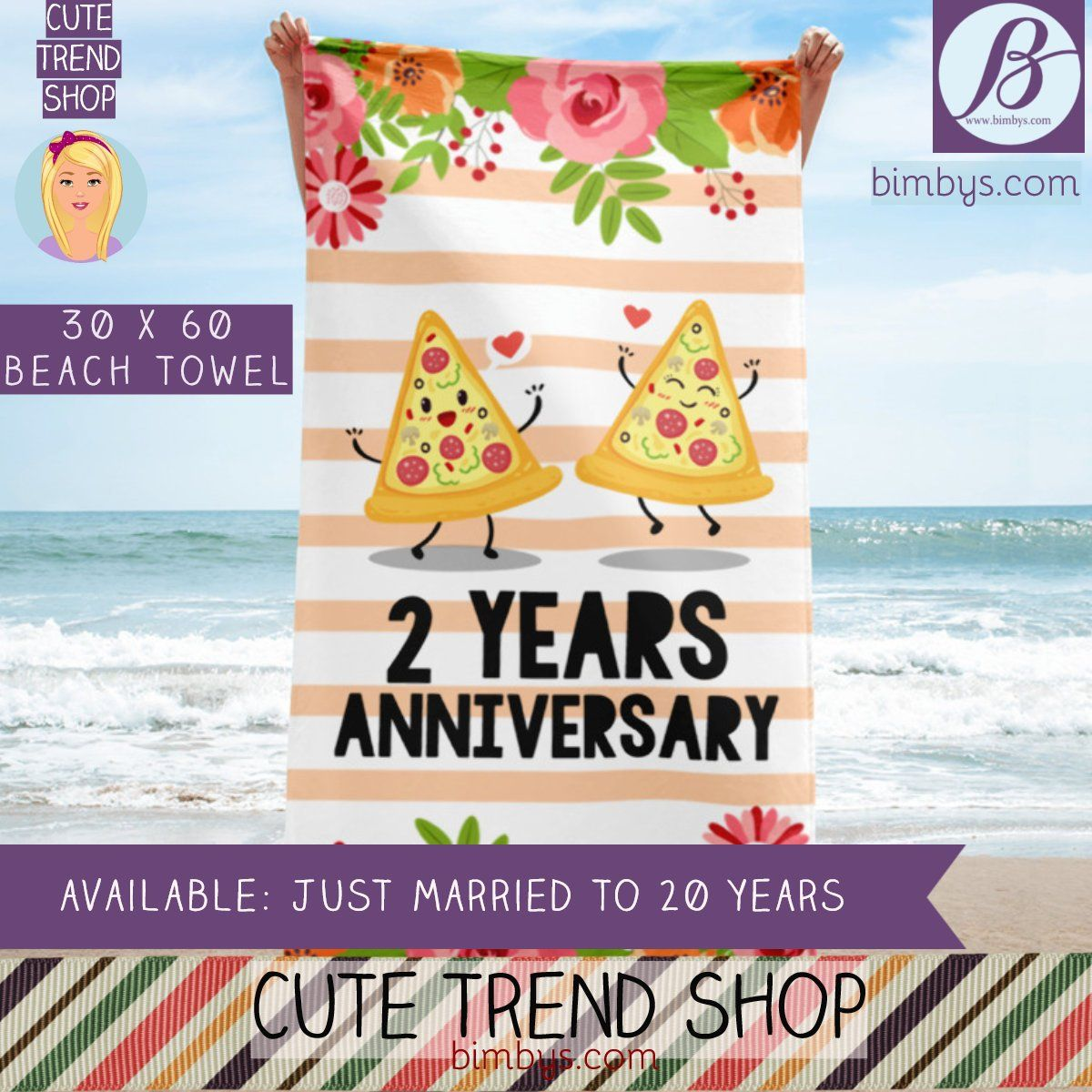 Anniversary Gift Idea Beach Towel Wedding Anniversary Funny