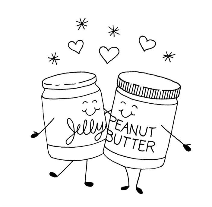 Jelly With Peanut Butter Coloring Images Food Cartoon Coloring Pages Embroidery Patterns Free Tea Towels Embroidery Bunny Embroidery